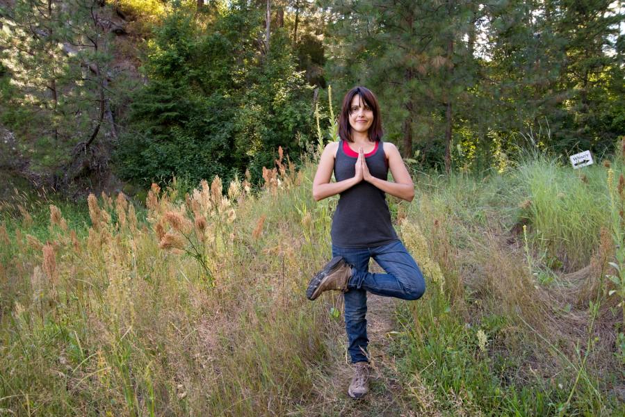 Me in Vriksasana, standing tree pose.